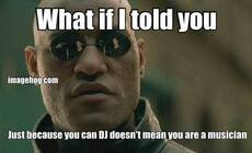 What if I told you Just because you can DJ doesn't mean you are a musician